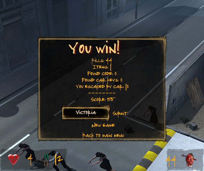 Winning screen
